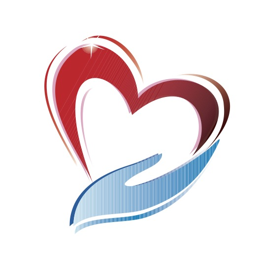 a heart and hand logo